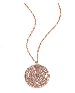 Icon Light Grey Diamond & 14k Rose Gold Aura Large Pendant Necklace