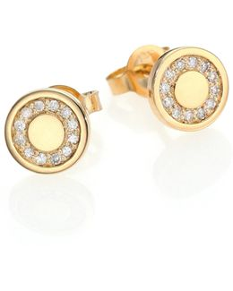 Cosmos Diamond & 14k Yellow Gold Mini Stud Earrings