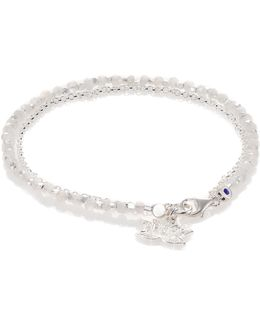 Biography White Sapphire, Moonstone & Sterling Silver Lotus Beaded Friendship Bracelet