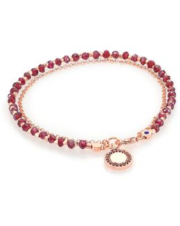 Biography Garnet & Red Spinel Cosmos Beaded Friendship Bracelet