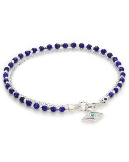 Biography White Sapphire, Lapis, Turquoise & Sterling Silver Evil Eye Beaded Friendship Bracelet