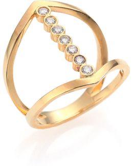 Diamond & 14k Yellow Gold Cross Ring