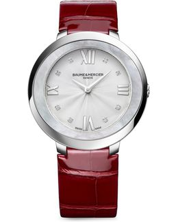 Promesse 10262 Stainless Steel & Alligator Strap Watch