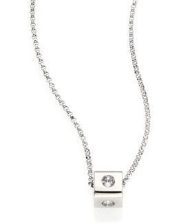 Pois Moi 18k White Gold Mini Cube Pendant Necklace