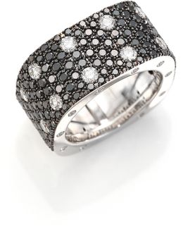 Pois Moi Black/white Diamond & 18k White Gold Ring
