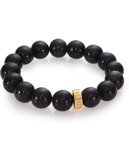 Black Horn Beaded Stretch Bracelet