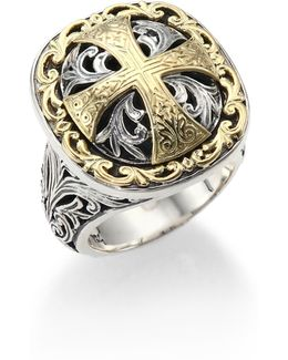 Classics Daphne 18k Yellow Gold & Sterling Silver Filigree Cross Ring