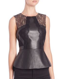 Laine Leather Lace Peplum Top