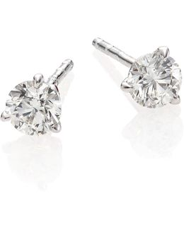 Diamond & 18k White Gold Stud Earrings/0.75 Tcw