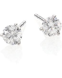 Diamond & 18k White Gold Stud Earrings/1.0 Tcw