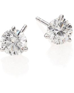 Diamond & 18k White Gold Stud Earrings/1.5 Tcw