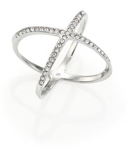 Brilliance Statement Pave X Ring/silvertone