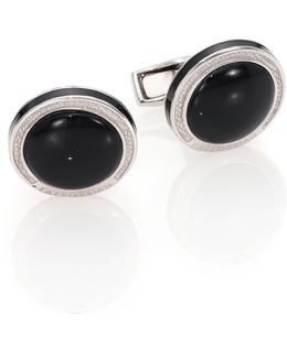 Round Sterling Silver & Black Onyxcuff Links