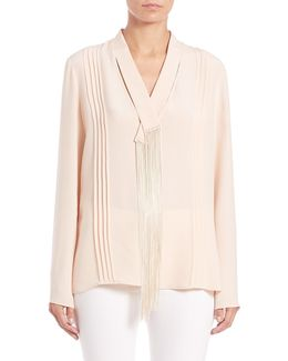 Silk Fringe-detail Blouse