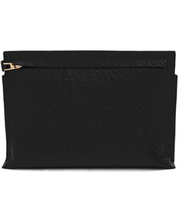 Large Logo-embossed Leather Zip Pouch