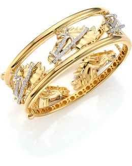 Cheval Diamond, 18k Yellow Gold & 18k White Gold Bangle Bracelet