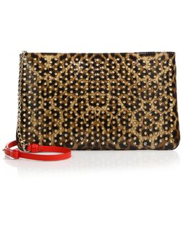 Posh Leopard Print Leather Crossbody Bag