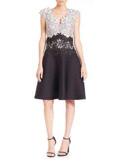 Appliqued Lace Scuba Dress