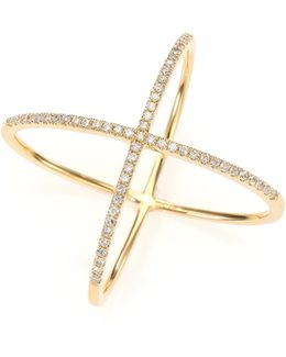 Diamond & 14k Yellow Gold X Ring