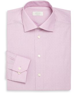 Contemporary-fit Dotted Cotton Dress Shirt