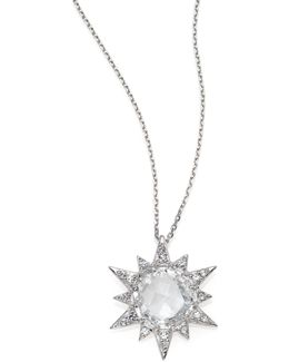 Aztec White Topaz, White Sapphire & Sterling Silver Starburst Pendant Necklace