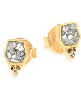 Charushila Zivar Black & Sliced Raw Diamond Stud Earrings