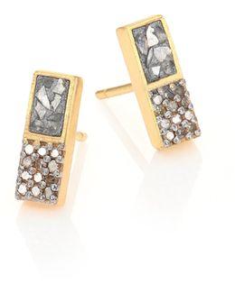 Banjara Alwar Sliced Raw & Champagne Diamond Stud Earrings