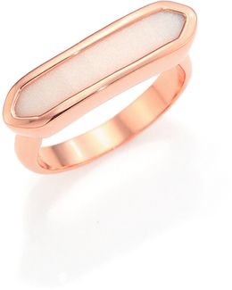 Baja 18k Rose Gold-plated Vermeil & Chalcedony Long Ring