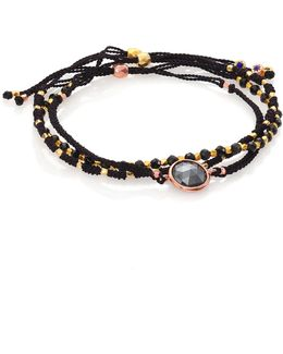 Biography Rock 'n' Roll Hematite & Black Spinel Silken Beaded Bracelet