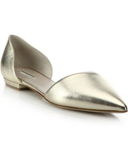 Metallic Leather D'orsay Evening Flats