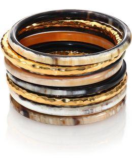 Hammered Horn Bangle Bracelet Set