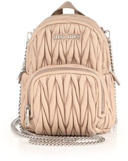 Mini Matelasse Leather Crossbody Backpack