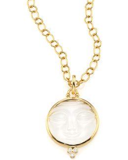 Celestial Crystal, Diamond & 18k Yellow Gold Moonface Pendant