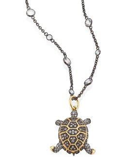 Mythology Diamond & 18k Yellow Gold Baby Turtle Amulet