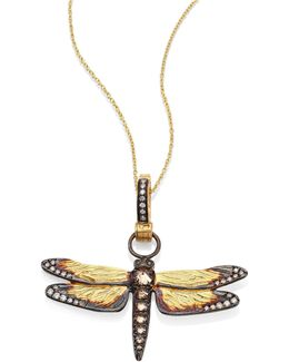 Dragonfly Diamond & 18k Yellow Gold Amulet