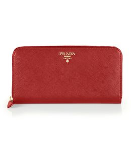 Saffiano Leather Zip Continental Wallet