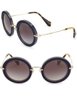 49mm Round Embellished Acetate & Metal Sunglasses