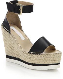 Glyn Leather Espadrille Wedge Platform Sandals