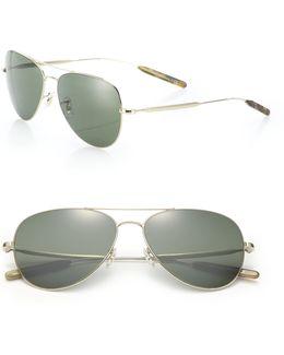 Davidson 58mm Double-bridge Aviator Sunglasses