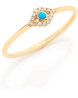 Small Infinity Diamond, Turquoise & 14k Yellow Gold Evil Eye Ring