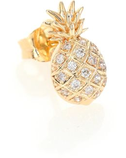 Diamond & 14k Yellow Gold Pineapple Single Stud Earring