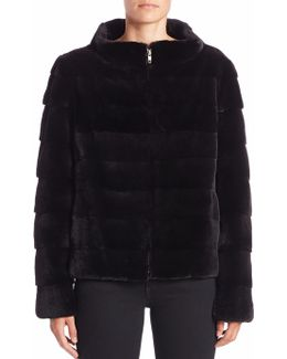 Horizontal Sheared Mink Fur Jacket