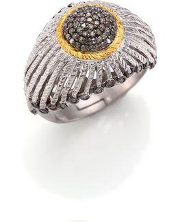 Diamond, 20k Yellow Gold & Sterling Silver Ring