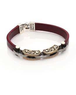 Burgundy Leather & Silver Alloy Link Bracelet