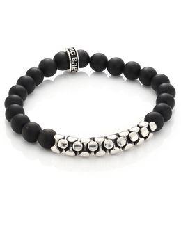 Onyx & Sterling Snake Link Bracelet