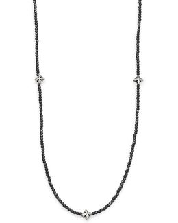 Grey Hematite & Cross Necklace