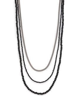 Black & Silver Triple Strand Necklace
