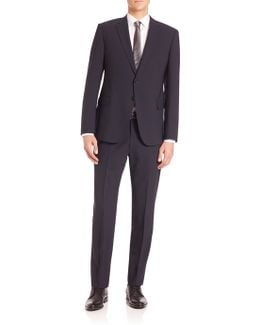 Solid Navy Wool Stretch Suit