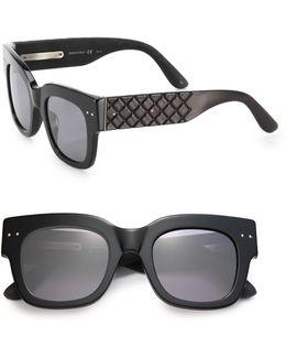 49mm Soft Rectangular Leather Sunglasses