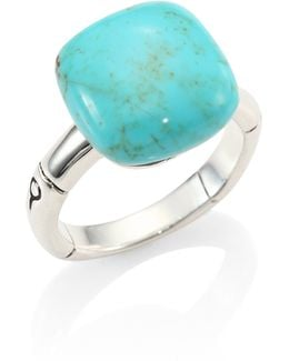 Batu Bamboo Turquoise & Sterling Silver Ring